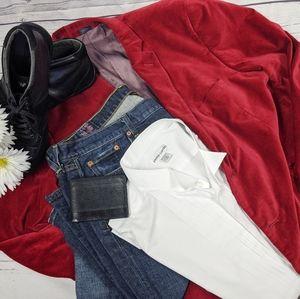Madison Modern Fit Red Velvet Blazer SZ 46R